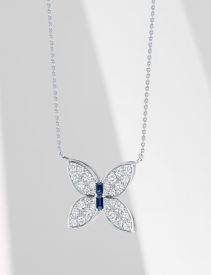The Ecksand Wild Blue Sapphire Butterfly Necklace with Diamond Pavé in White Gold