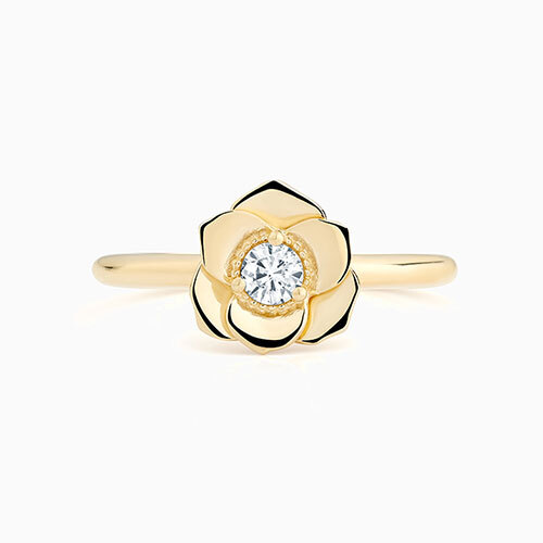 Front View of the Ecksand Flower Milgrain Diamond Engagement Ring in Yellow Gold