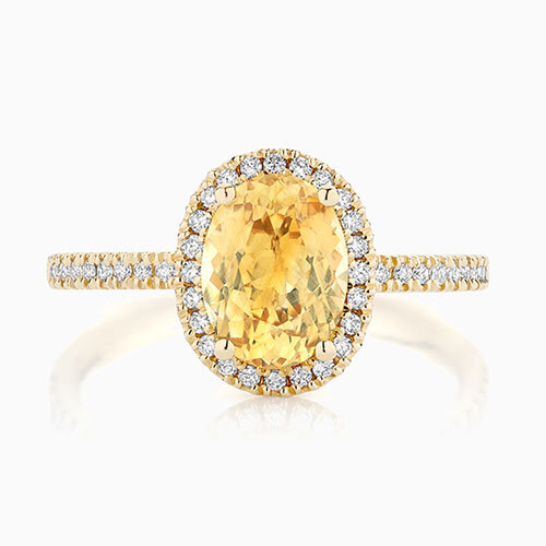 Front View of the Ecksand Halo Yellow Sapphire Engagement Ring in Yellow Gold