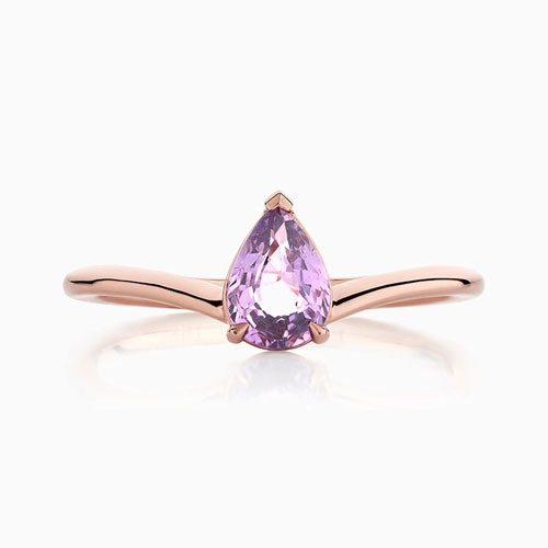 Front View of the Ecksand Pure Gemstone Curved Pear Cut Purple Diamond Engagement Ring in Rose Gold