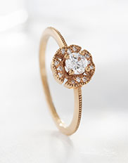 The Ecksand Vintage Flower Rose Cut Diamond Halo Engagement Ring in Yellow Gold