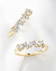 Pair of Ecksand Blossom Diamond Pavé Wedding Rings in Yellow Gold