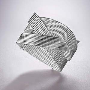 The Ecksand Tresses Twisted Cuff Bracelet in White Gold