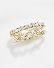 The Ecksand Pavé Semi Eternity Wedding Ring and Ecksand Blossom Pavé Wedding Ring In Yellow Gold