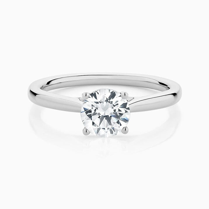 Front View of the Ecksand Secret Heart Round Cut Diamond Engagement Ring in White Gold