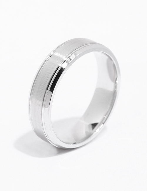 Front View of the Ecksand Men's Triptych Men's Wedding Band in White Gold
