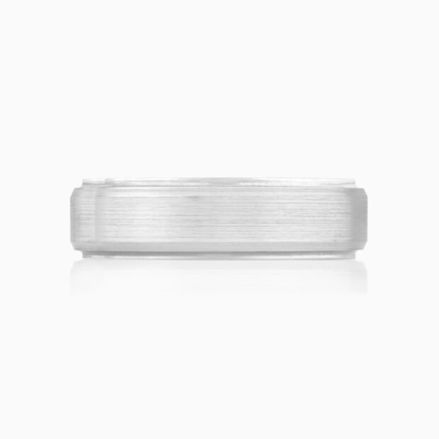Front View of the Ecksand Men's Brushed Finish Men's Wedding Band in White Gold