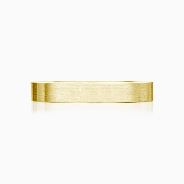 Front View of the Ecksand Men's Satin men's wedding band in Yellow Gold