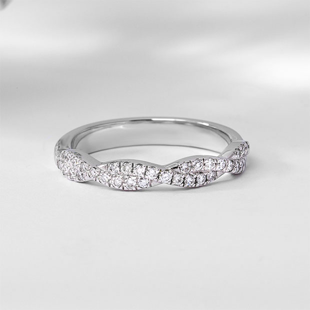 Front View of the Ecksand Twist Twisted Double Diamond Pavé Wedding Ring in White Gold