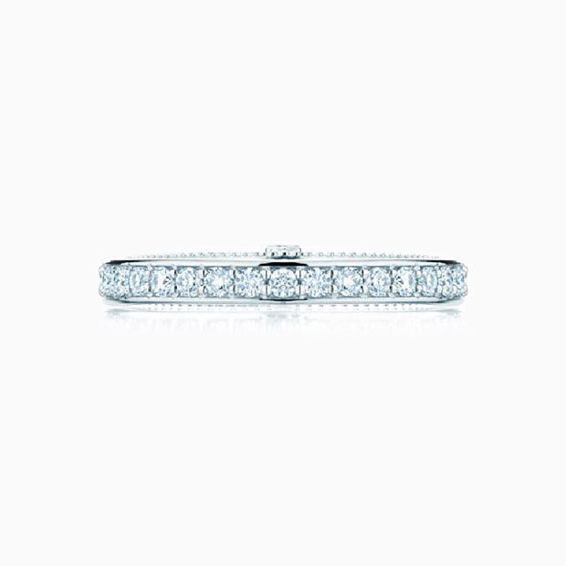 Front View of the Ecksand Vintage Double Band Milgrain Diamond Pavé Wedding Ring in White Gold