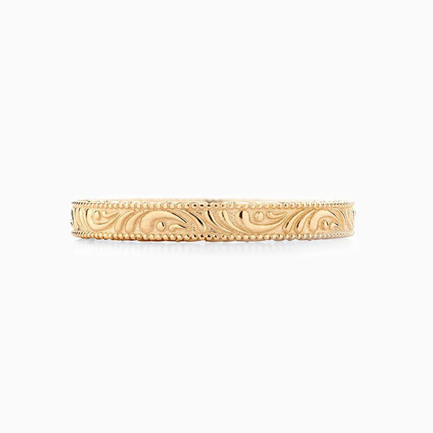 Front View of the Ecksand Vintage Filigree Vintage Wedding Ring in Yellow Gold