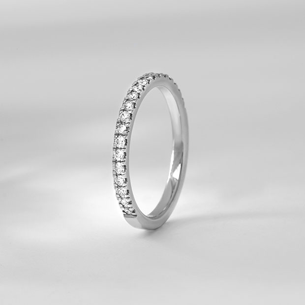Front View of the Ecksand Semi Eternity Diamond Pavé Wedding Ring in White Gold