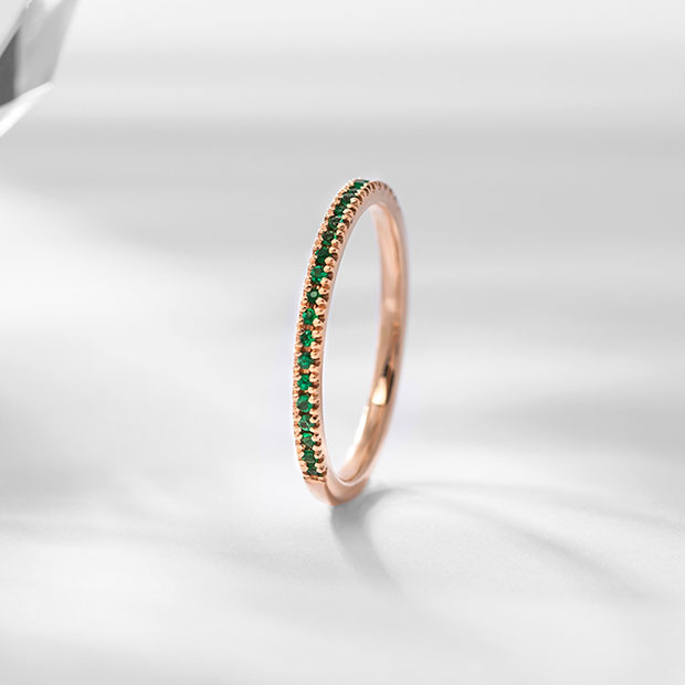 Front View of the Ecksand Pure Gemstone Petite Pavé Emerald Wedding Ring in Rose Gold